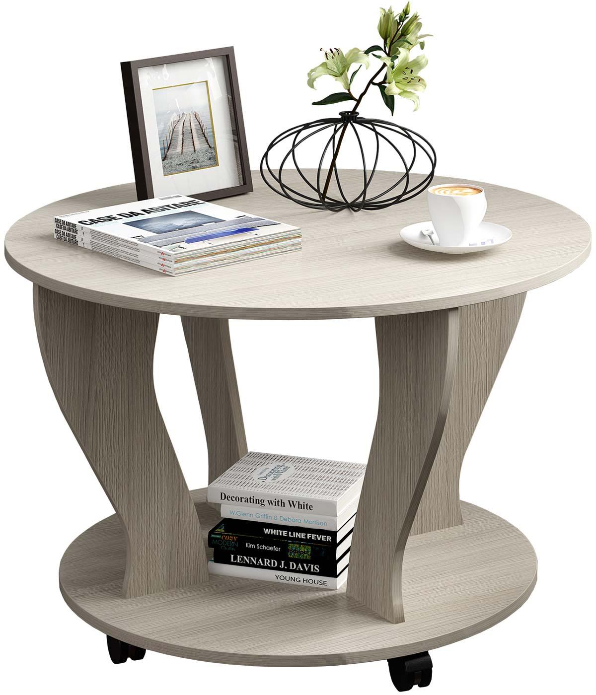 Круглый журнальный столик на колесиках