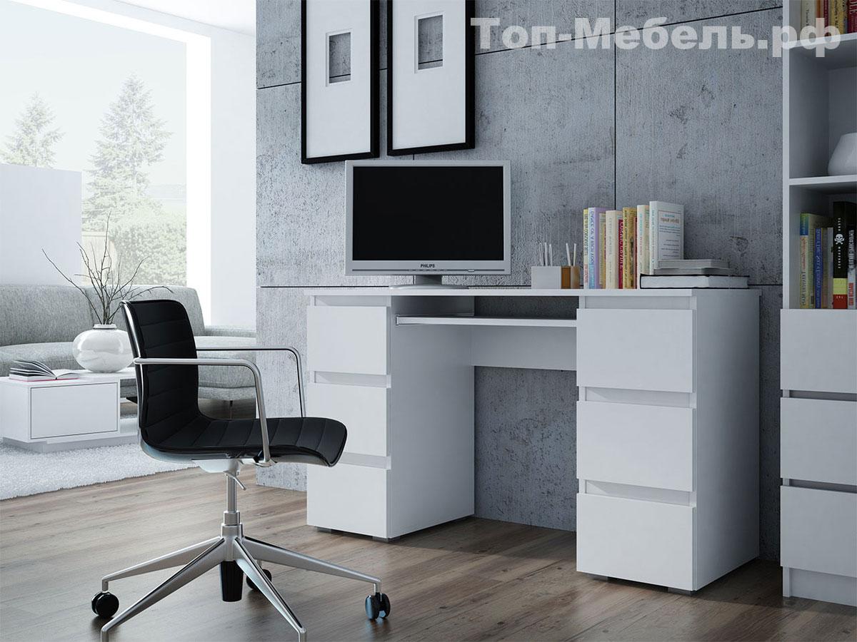 Белый современный компьютерный стол Kuba Gloss Office