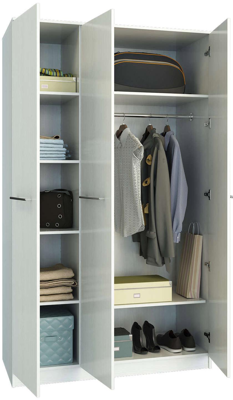Белый распашной шкаф трехстворчатый Ланс-3