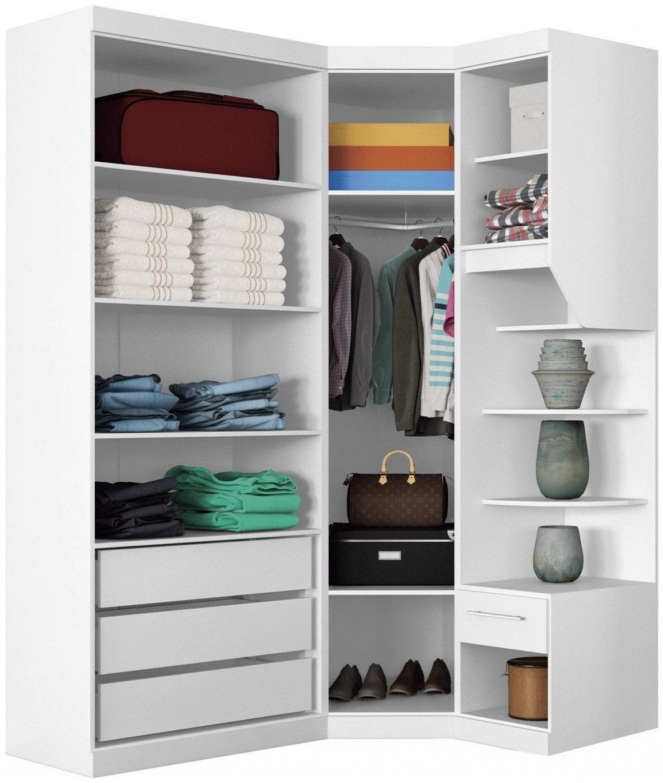 Белый угловой шкаф с наполнением