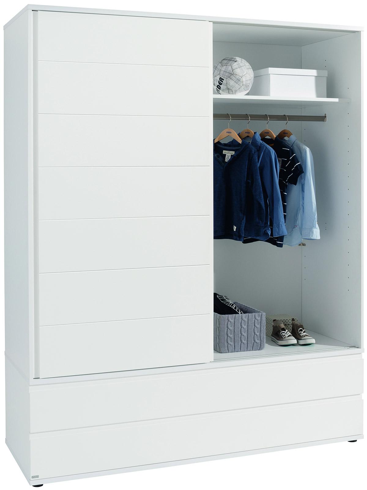 Белый шкаф-купе с ящиками внизу Paidi Fiona
