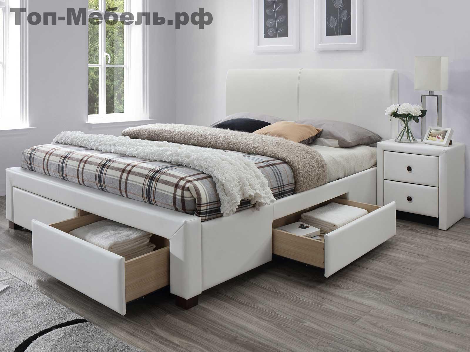 Белая двуспальная кровать Halmar Modena 2