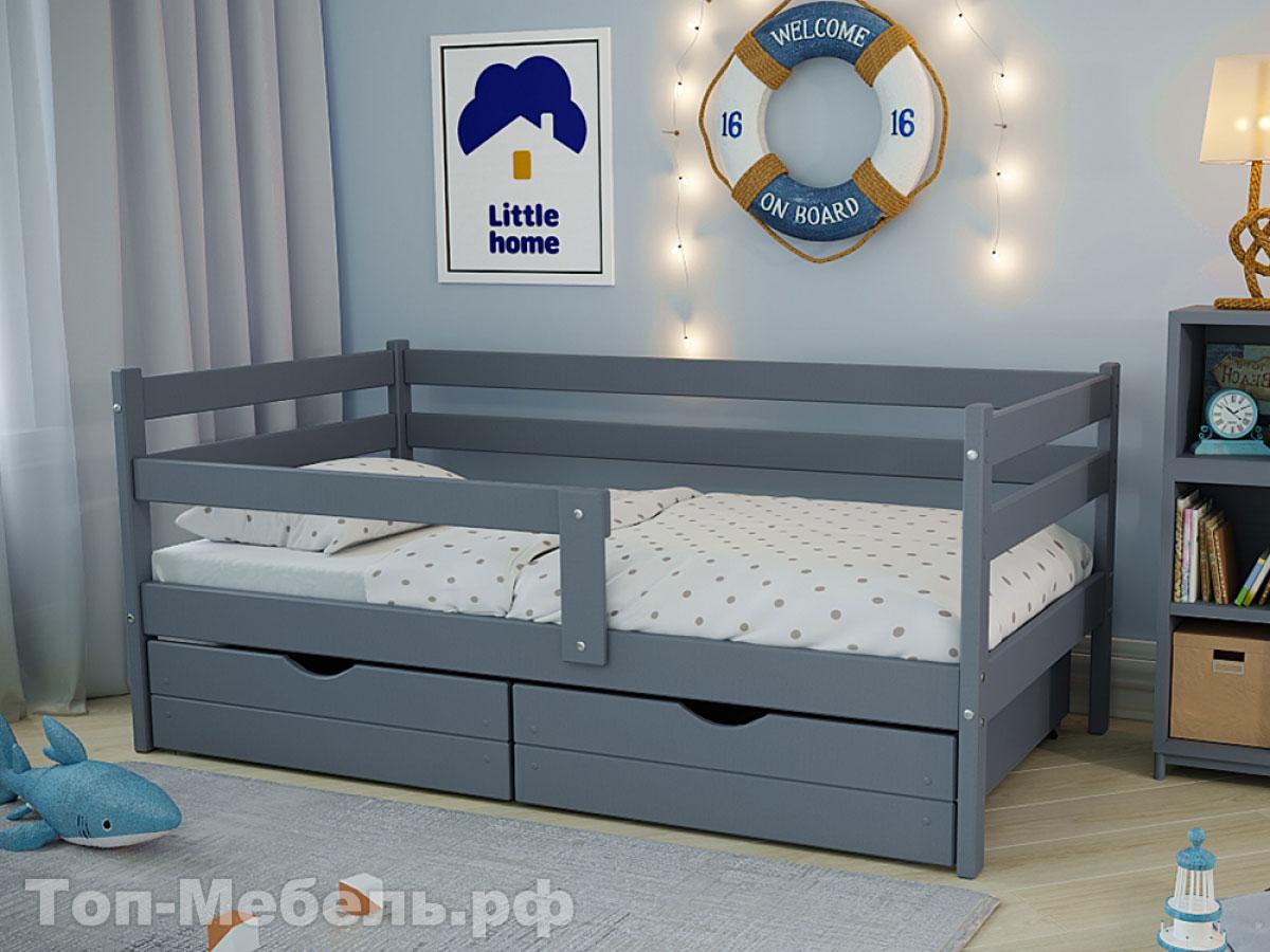 Серая детская кровать с бортиками