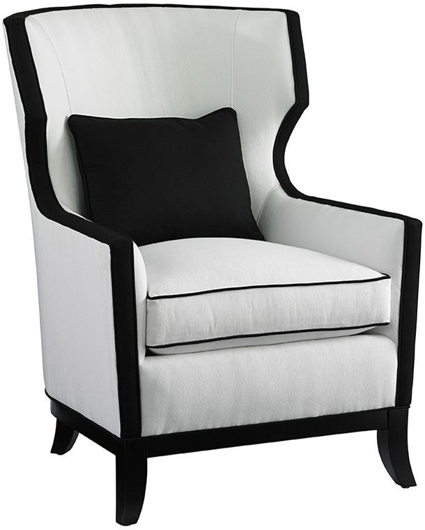 Мягкое кресло черно-белое Angie Wing Chair